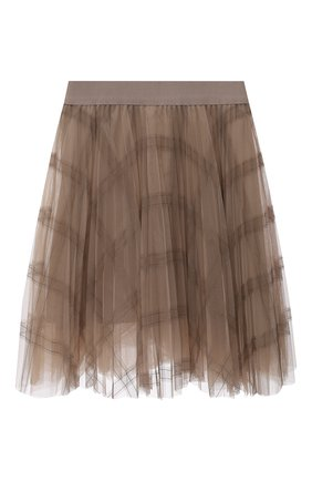 Детская плиссированная юбка BRUNELLO CUCINELLI бежевого цвета, арт. BA960G026B | Фото 1