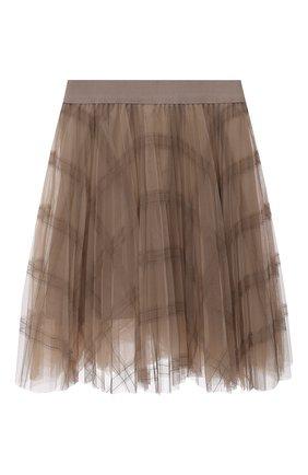 Детская плиссированная юбка BRUNELLO CUCINELLI бежевого цвета, арт. BA960G026C | Фото 1