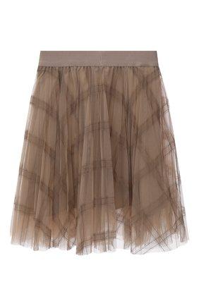 Детская плиссированная юбка BRUNELLO CUCINELLI бежевого цвета, арт. BA960G026C | Фото 2