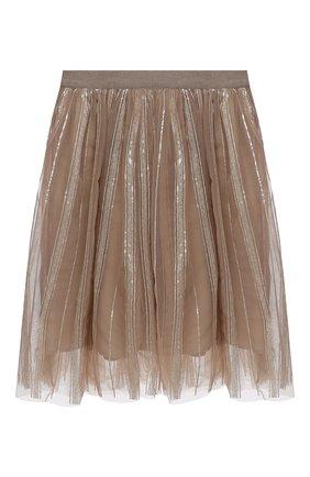 Детская юбка с пайетками BRUNELLO CUCINELLI бежевого цвета, арт. BA960S208A | Фото 1