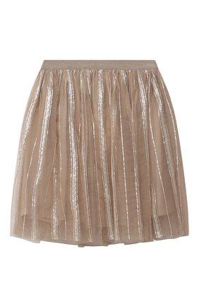 Детская юбка с пайетками BRUNELLO CUCINELLI бежевого цвета, арт. BA960S208C | Фото 1