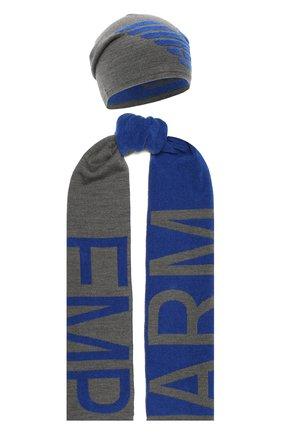 Детский комплект из шапки и шарфа EMPORIO ARMANI синего цвета, арт. 407510/0A758 | Фото 1