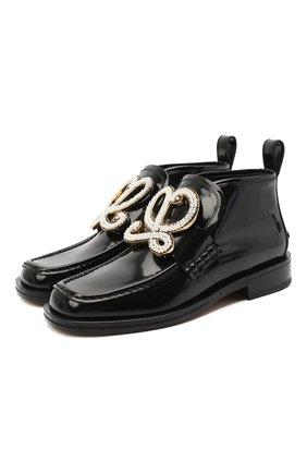 Женская кожаные ботинки LOEWE черного цвета, арт. L814290X07   Фото 1