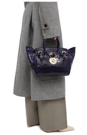Женская сумка из кожи аллигатора RALPH LAUREN темно-фиолетового цвета, арт. 435832072/AMIS   Фото 2