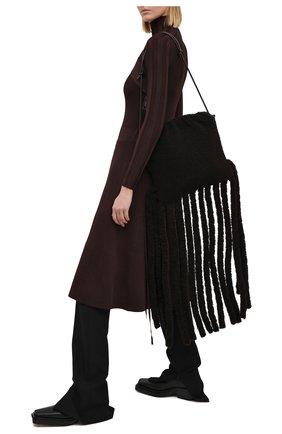 Женский сумка-шопер the fringe BOTTEGA VENETA темно-коричневого цвета, арт. 630363/V03F1 | Фото 2