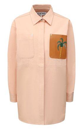 Женская хлопковая рубашка LOEWE розового цвета, арт. S897Y02X01 | Фото 1