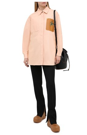 Женская хлопковая рубашка LOEWE розового цвета, арт. S897Y02X01 | Фото 2