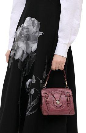 Женская сумка ricky 18 из кожи крокодила RALPH LAUREN темно-розового цвета, арт. 69H/I0G44/RMALL   Фото 2 (Размер: mini; Ремень/цепочка: На ремешке; Сумки-технические: Сумки top-handle, Сумки через плечо)
