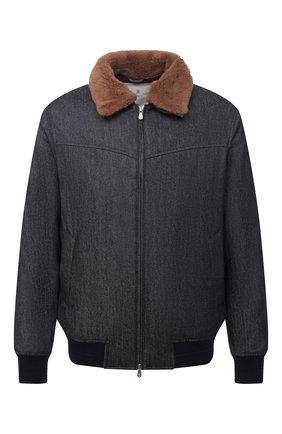 Мужской утепленный бомбер BRUNELLO CUCINELLI синего цвета, арт. ML4766438 | Фото 1 (Длина (верхняя одежда): Короткие; Материал подклада: Синтетический материал; Рукава: Длинные; Материал внешний: Шерсть; Кросс-КТ: Куртка; Принт: Без принта; Стили: Кэжуэл)