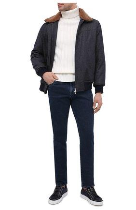 Мужской утепленный бомбер BRUNELLO CUCINELLI синего цвета, арт. ML4766438 | Фото 2 (Длина (верхняя одежда): Короткие; Материал подклада: Синтетический материал; Рукава: Длинные; Материал внешний: Шерсть; Кросс-КТ: Куртка; Принт: Без принта; Стили: Кэжуэл)