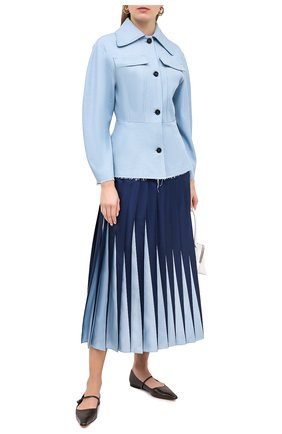 Женская шелковая юбка VALENTINO голубого цвета, арт. UB3RA6E05P0 | Фото 2