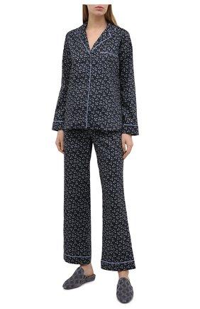 Женская хлопковая пижама YOLKE синего цвета, арт. SS21-02C-LP-DE | Фото 1