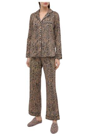 Женская хлопковая пижама YOLKE коричневого цвета, арт. SS21-02C-AN-DI | Фото 1