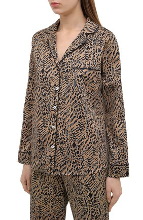 Женская хлопковая пижама YOLKE коричневого цвета, арт. SS21-02C-AN-DI | Фото 2