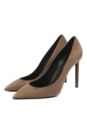 Женская замшевые туфли SAINT LAURENT светло-коричневого цвета, арт. 471988/0LI00 | Фото 1