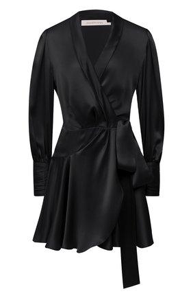 Женское шелковое платье ZIMMERMANN черного цвета, арт. 8067DRLAD | Фото 1