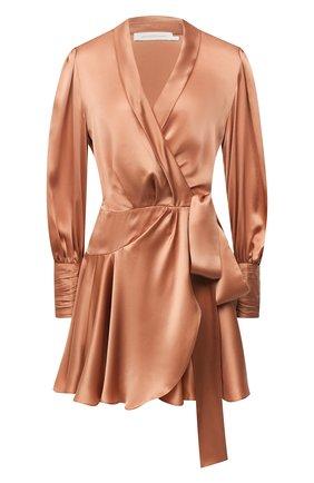 Женское шелковое платье ZIMMERMANN бежевого цвета, арт. 8067DRLAD | Фото 1