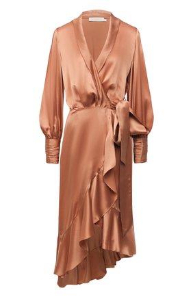 Женское шелковое платье ZIMMERMANN бежевого цвета, арт. 8066DRLAD | Фото 1