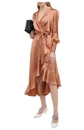 Женское шелковое платье ZIMMERMANN бежевого цвета, арт. 8066DRLAD | Фото 2