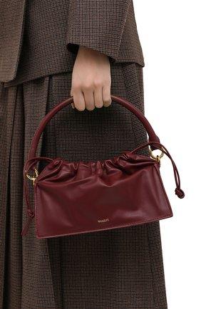 Женская сумка bom mini YUZEFI бордового цвета, арт. YUZAW20-HB-B0-02 | Фото 2 (Сумки-технические: Сумки через плечо, Сумки top-handle; Материал: Натуральная кожа; Размер: mini; Ремень/цепочка: На ремешке)