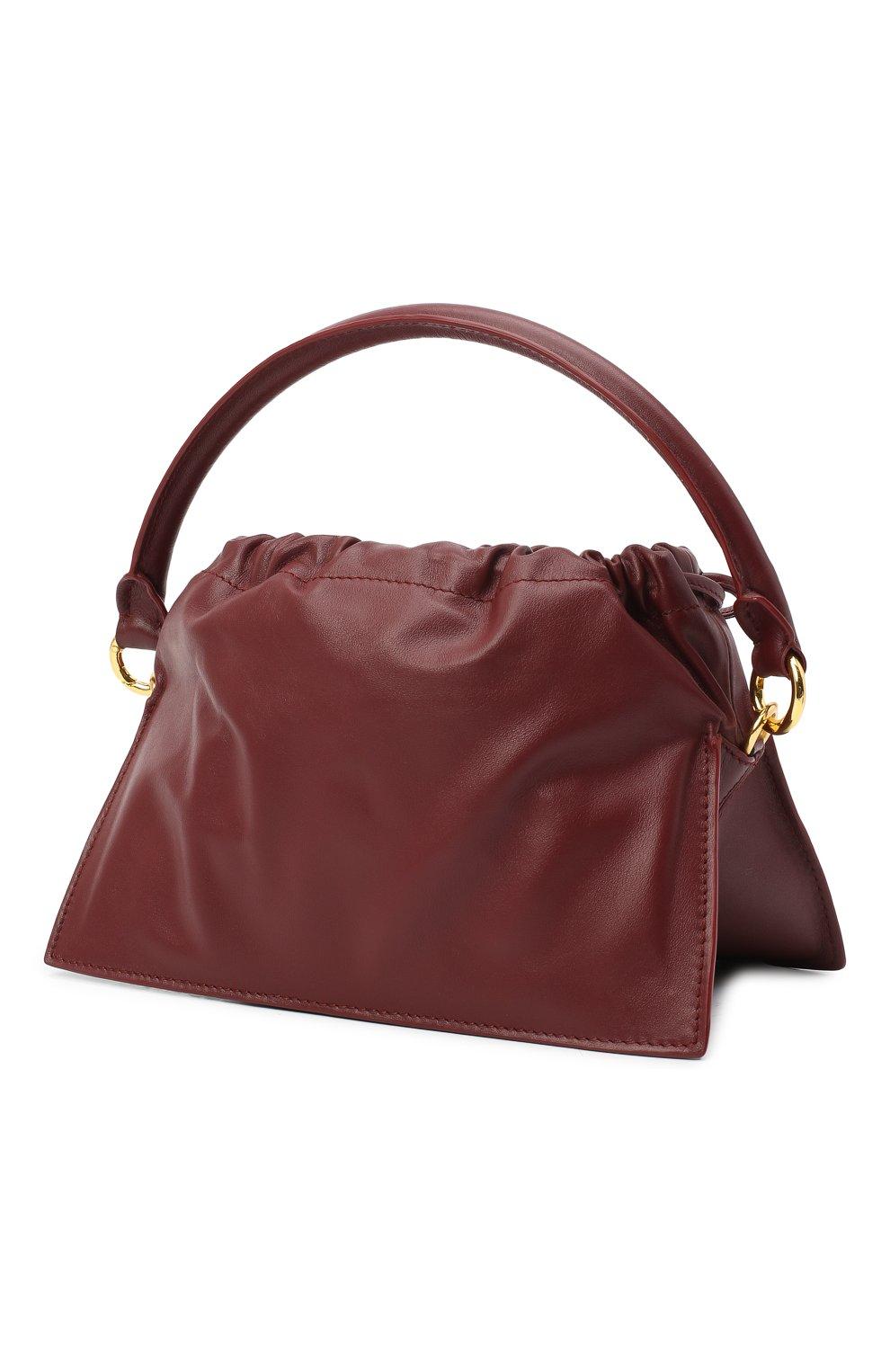 Женская сумка bom mini YUZEFI бордового цвета, арт. YUZAW20-HB-B0-02 | Фото 3 (Сумки-технические: Сумки через плечо, Сумки top-handle; Материал: Натуральная кожа; Размер: mini; Ремень/цепочка: На ремешке)