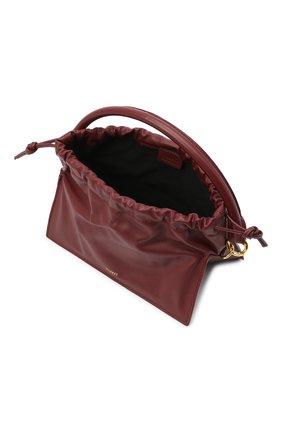 Женская сумка bom mini YUZEFI бордового цвета, арт. YUZAW20-HB-B0-02 | Фото 4 (Сумки-технические: Сумки через плечо, Сумки top-handle; Материал: Натуральная кожа; Размер: mini; Ремень/цепочка: На ремешке)