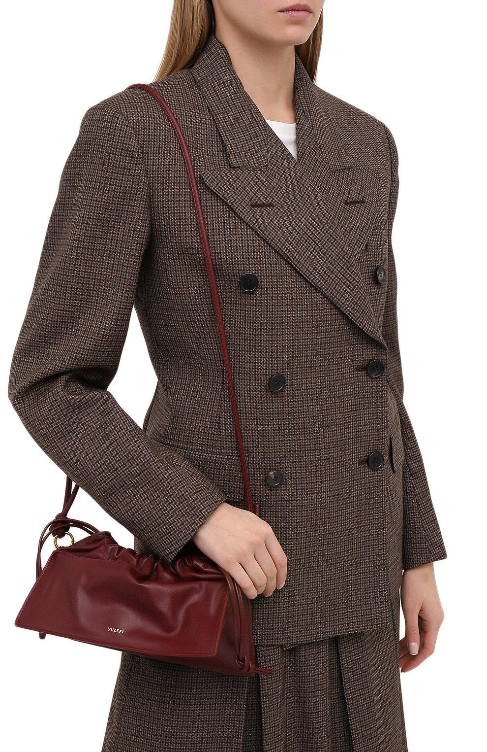 Женская сумка bom mini YUZEFI бордового цвета, арт. YUZAW20-HB-B0-02 | Фото 5 (Сумки-технические: Сумки через плечо, Сумки top-handle; Материал: Натуральная кожа; Размер: mini; Ремень/цепочка: На ремешке)