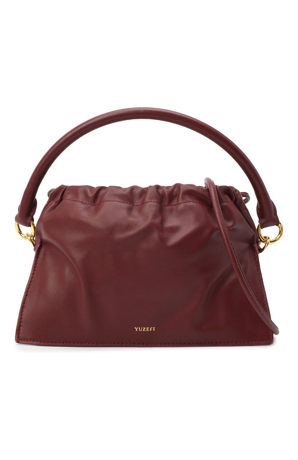Женская сумка bom mini YUZEFI бордового цвета, арт. YUZAW20-HB-B0-02 | Фото 6 (Сумки-технические: Сумки через плечо, Сумки top-handle; Материал: Натуральная кожа; Размер: mini; Ремень/цепочка: На ремешке)