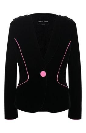 Женский бархатный жакет GIORGIO ARMANI черного цвета, арт. 0WHGG0K9/T01FD | Фото 1