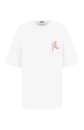 Женская хлопковая футболка MSGM белого цвета, арт. 2943MDM79 207648 | Фото 1