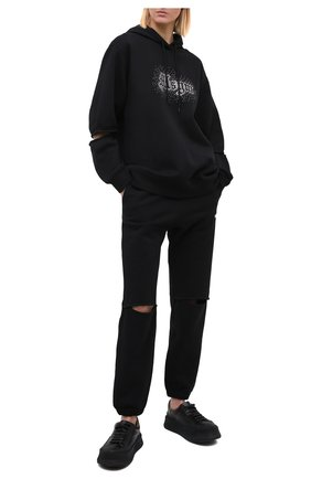 Женские хлопковые джоггеры MSGM черного цвета, арт. 2942MDP162 207999 | Фото 2