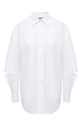 Женская хлопковая рубашка MSGM белого цвета, арт. 2942MDE105 207813 | Фото 1