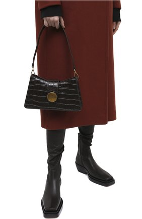 Женская сумка baguette small ELLEME темно-коричневого цвета, арт. BAGUETTE/CR0C0 PRINT LEATHER | Фото 2
