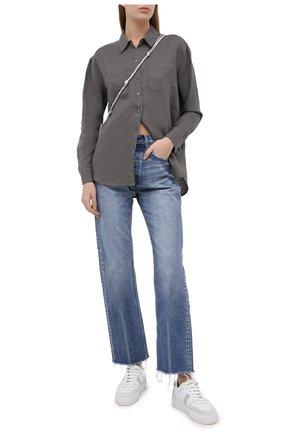 Женская льняная рубашка JAMES PERSE хаки цвета, арт. WLSL3526 | Фото 2