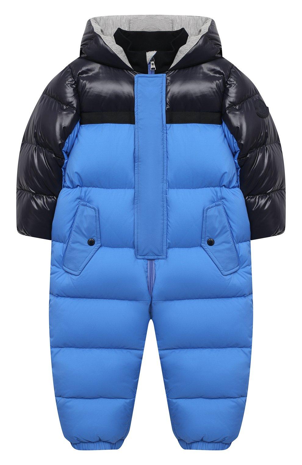 Детского пуховый комбинезон MONCLER синего цвета, арт. F2-951-1G508-20-53333/18M-3A | Фото 1