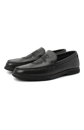 Мужские кожаные лоферы BILLIONAIRE черного цвета, арт. O20S MSB0475 BLE010N   Фото 1