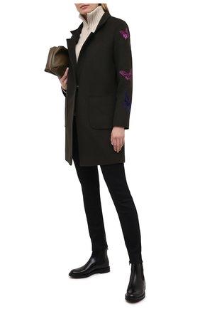 Женское шерстяное пальто SEVEN LAB темно-зеленого цвета, арт. C19-01 olive   Фото 2