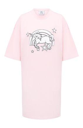 Женская хлопковая футболка VETEMENTS розового цвета, арт. UE51TR390P 1600/W | Фото 1