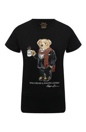 Женская хлопковая футболка POLO RALPH LAUREN черного цвета, арт. 211823687 | Фото 1