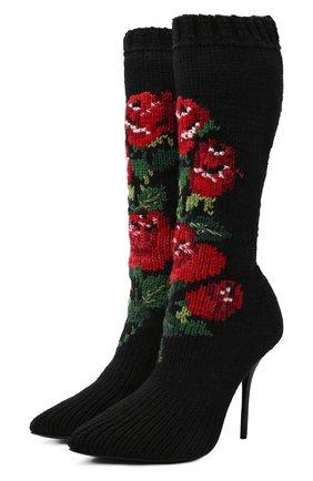 Женские текстильные сапоги cardinale 105 DOLCE & GABBANA черного цвета, арт. CU0703/A8M56 | Фото 1