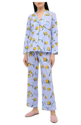 Женская хлопковая пижама YOLKE голубого цвета, арт. SS21-02C-LE-ZS | Фото 1