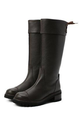 Женские кожаные сапоги SEE BY CHLOÉ темно-коричневого цвета, арт. SB35062B/12550   Фото 1