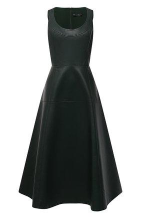 Женское кожаное платье OSCAR DE LA RENTA зеленого цвета, арт. 20PN233LEA   Фото 1