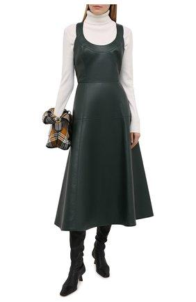 Женское кожаное платье OSCAR DE LA RENTA зеленого цвета, арт. 20PN233LEA   Фото 2