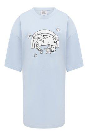 Женская хлопковая футболка VETEMENTS голубого цвета, арт. UE51TR390X 1600/W | Фото 1