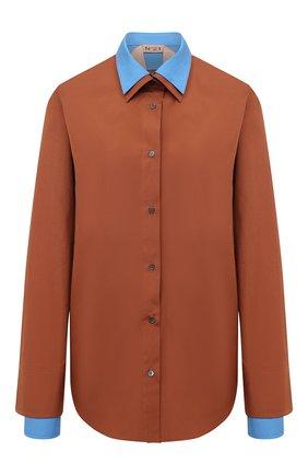 Женская хлопковая рубашка N21 коричневого цвета, арт. 20I N2S0/G031/0605 | Фото 1