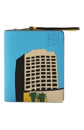 Женский кожаный футляр для кредитных карт LOEWE голубого цвета, арт. C643Z41X01   Фото 1