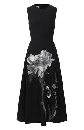 Женское платье из шерсти и шелка VALENTINO черно-белого цвета, арт. UB0VATT61CF | Фото 1