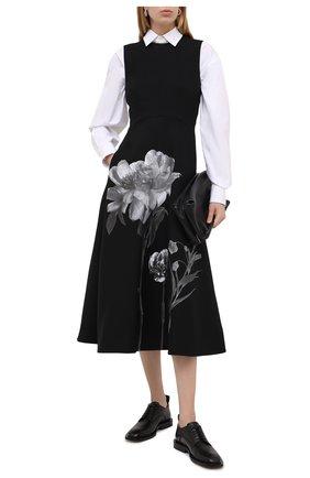 Женское платье из шерсти и шелка VALENTINO черно-белого цвета, арт. UB0VATT61CF | Фото 2