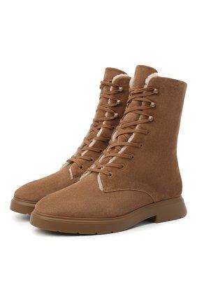 Женские замшевые ботинки STUART WEITZMAN бежевого цвета, арт. S0302 | Фото 1